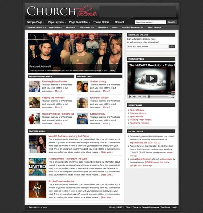 Church ~ Genesis WordPress sablon fekete