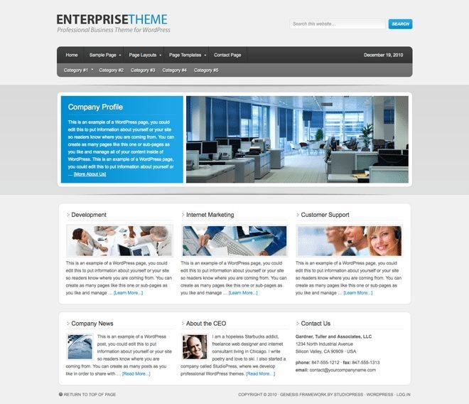 Enterprise ~ Genesis WordPress sablon